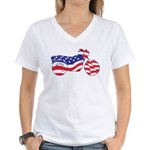Motorcycle in American Flag Women's V-Neck T-Shirt