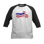 Motorcycle in American Flag Kids Baseball Jersey