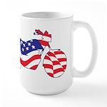 Motorcycle in American Flag Large Mug
