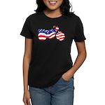 Motorcycle in American Flag Women's Dark T-Shirt
