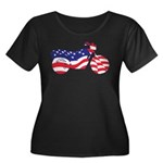 Motorcycle in American Flag Women's Plus Size Scoo
