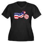 Motorcycle in American Flag Women's Plus Size V-Ne