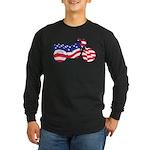 Motorcycle in American Flag Long Sleeve Dark T-Shi