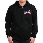 Motorcycle in American Flag Zip Hoodie (dark)