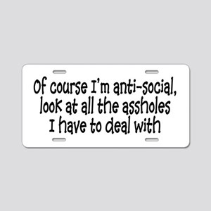 Anit-Social Aluminum License Plate