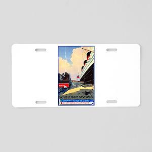 Transatlantic Travel Poster 1 Aluminum License Pla