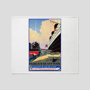 Transatlantic Travel Poster 1 Throw Blanket