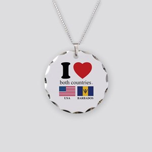 USA-BARBADOS Necklace Circle Charm