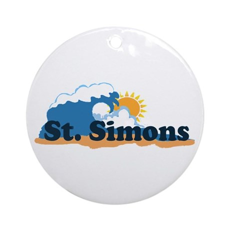 St. Simons Island - Waves Design. Ornament (Round)
