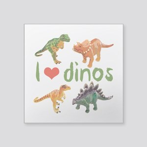 "I Love Dinos Square Sticker 3"" x 3"""