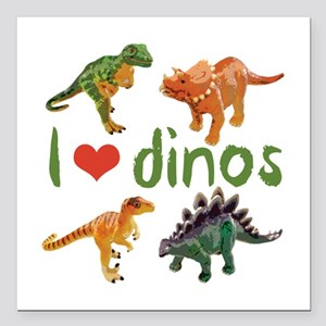 "I Love Dinos Square Car Magnet 3"" x 3"""