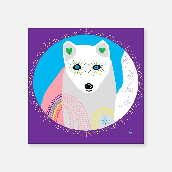 """whitefox.png Square Sticker 3"""" x 3"""""""