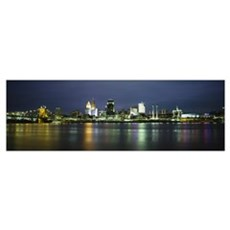 Buildings at the waterfront lit up at night, Ohio  Framed Print