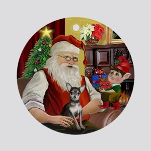 Santa and his Chihuahua (bl-crm) Ornament (Round)