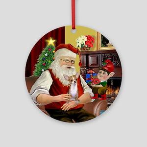 Santal & his Chihuahua (lt red) Ornament (Roun