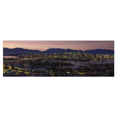 Aerial view of a city lit up at dusk, Vancouver, B Canvas Art