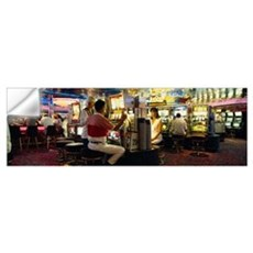 Group of people playing on slot machines in a casi Wall Decal