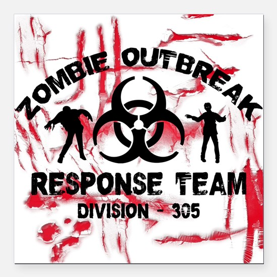 "Zombie Response Team Square Car Magnet 3"" x 3"""