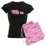 Bear Migration Icon (Pink) Women's Dark Pajamas