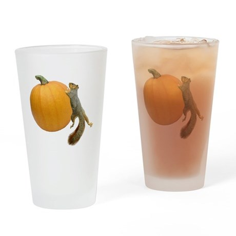 Squirrel Rolling Pumpkin Drinking Glass