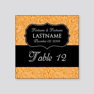 """Table Numbers Sign - orange Square Sticker 3"""" x 3"""""""