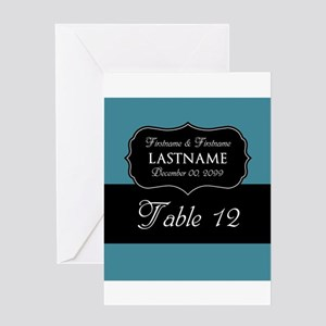Table Numbers Sign - teal Greeting Card