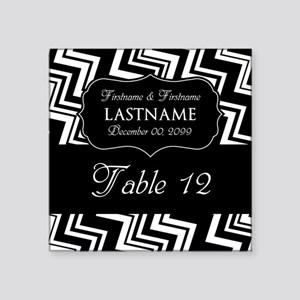 """Table Numbers Sign - chevrons Square Sticker 3"""" x"""