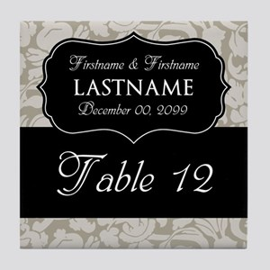 Table Numbers Sign - beige Tile Coaster