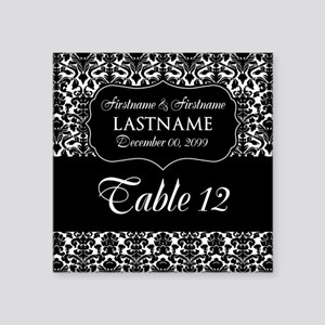 """Table Numbers Sign - damask Square Sticker 3"""" x 3"""""""