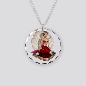 Cute Cartoon Mermaid Necklace Circle Charm
