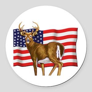 American White Tail Deer Buck Round Car Magnet