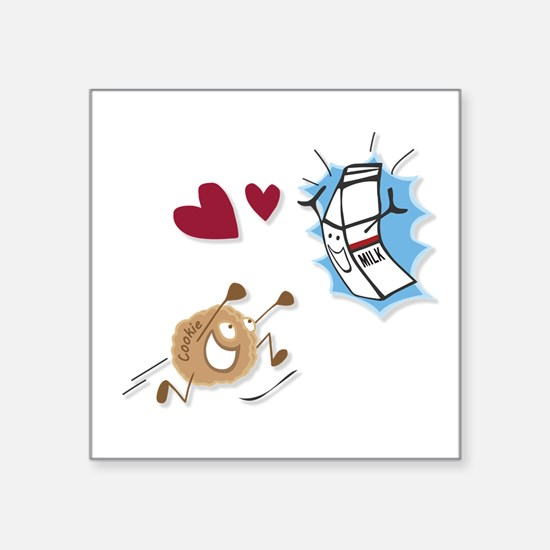 """Milk and Cookies Square Sticker 3"""" x 3"""""""