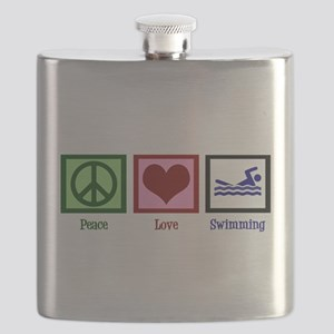 Peace Love Swimming Flask