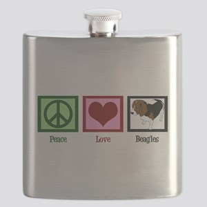 Peace Love Beagles Flask