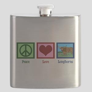 Peace Love Longhorns Flask