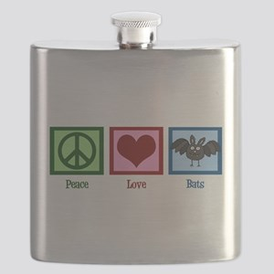 Peace Love Bats Flask