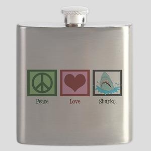 Peace Love Sharks Flask