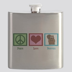 Peace Love Beavers Flask