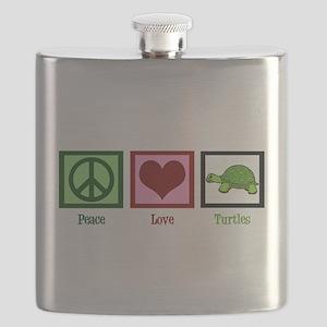 Peace Love Turtles Flask