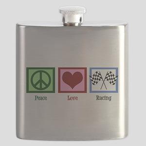 Peace Love Auto Racing Flask