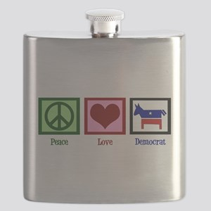 Peace Love Democrat Flask