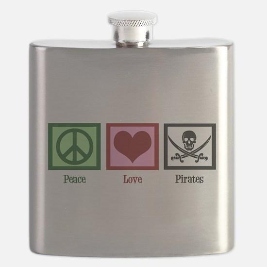 Peace Love Pirates Flask