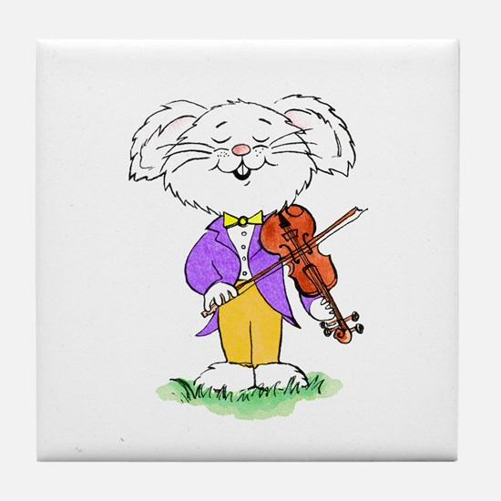 mouse with violin - Tile Coaster
