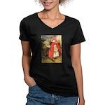 Little Red Riding Hood Women's V-Neck Dark T-Shirt