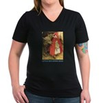 Little Red Riding Hood Women's V-Neck Dark T-Shirt