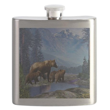 Mountain Grizzly Bears Flask
