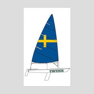Sweden Dinghy Sailing Sticker (Rectangle)