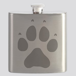 Wolf Paw Print Flask
