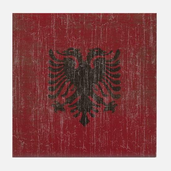 Vintage Albania Flag Tile Coaster