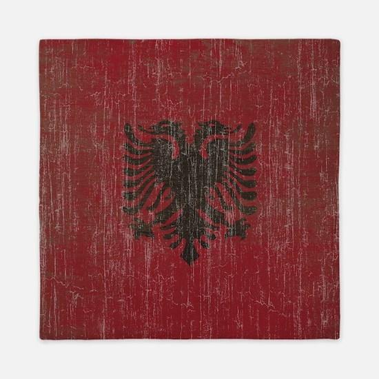 Vintage Albania Flag Queen Duvet